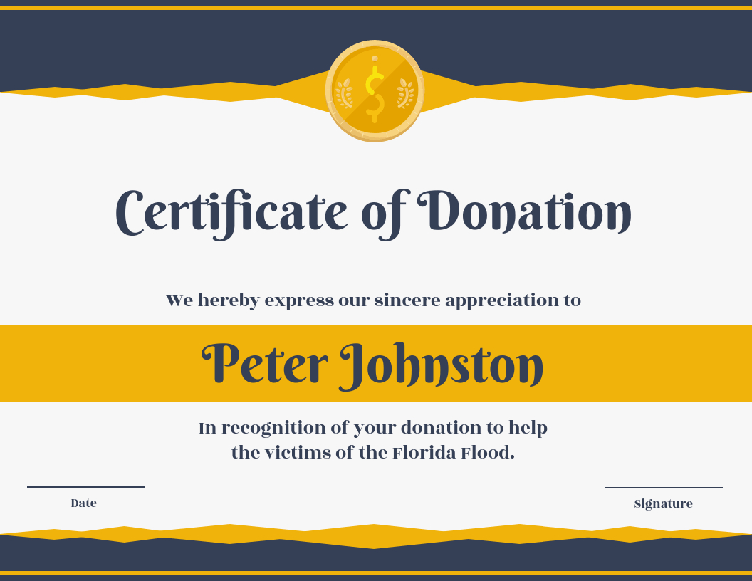 Certificate Of Donation Template Template - Venngage with Donation Certificate Template