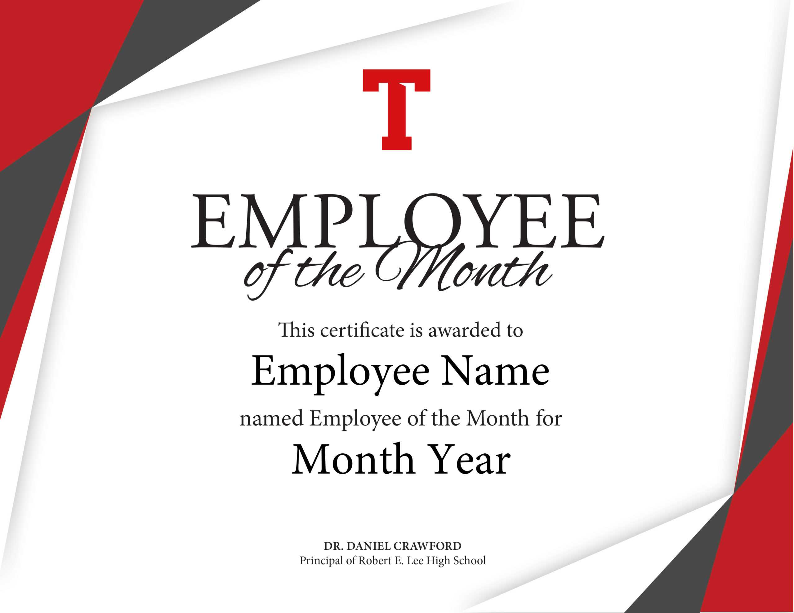 Certificate Of Employee The Month Template Brochure with regard to Employee Of The Month Certificate Templates