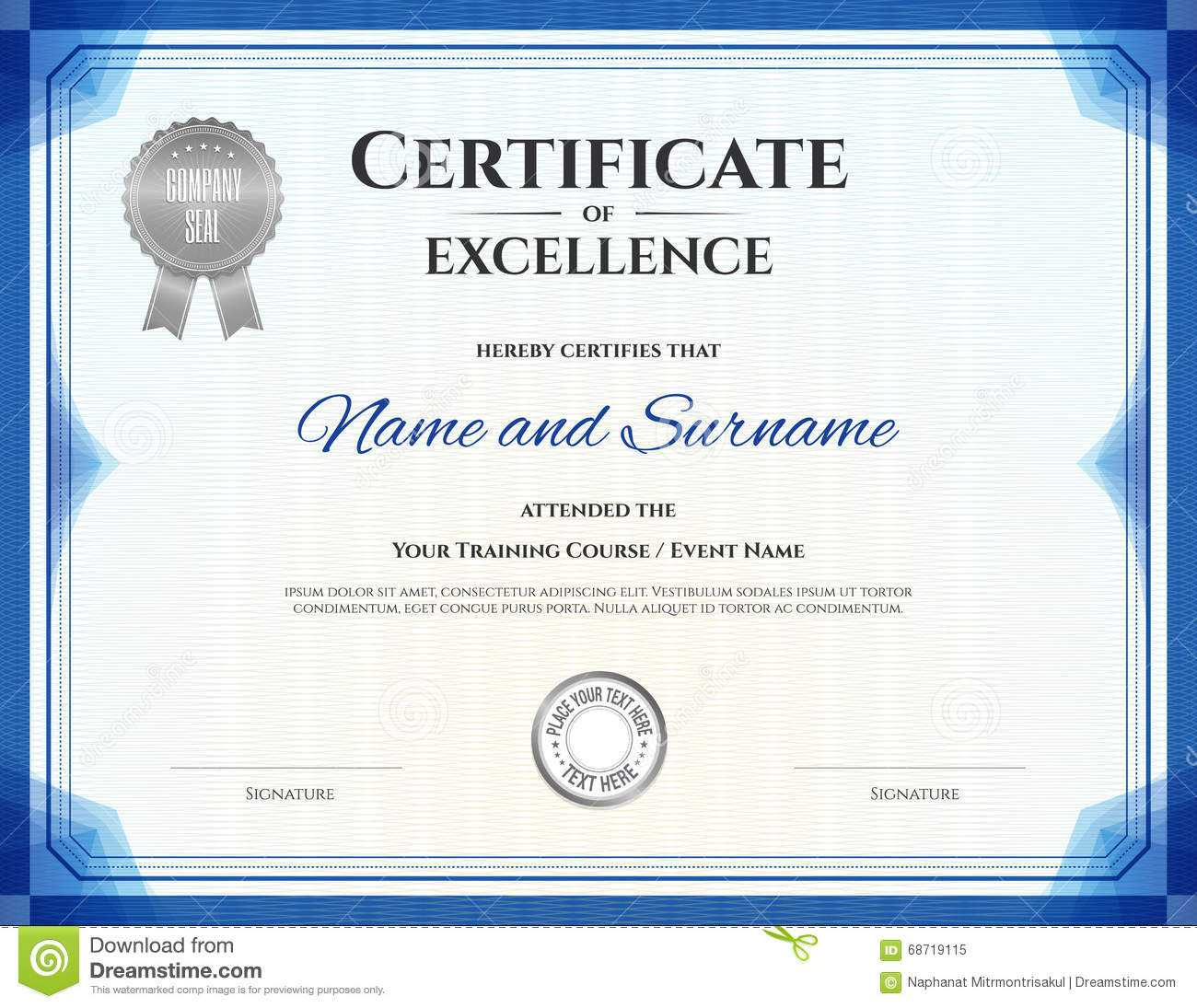 Certificate Of Excellence In Vector Stock Vector pertaining to Free Certificate Of Excellence Template