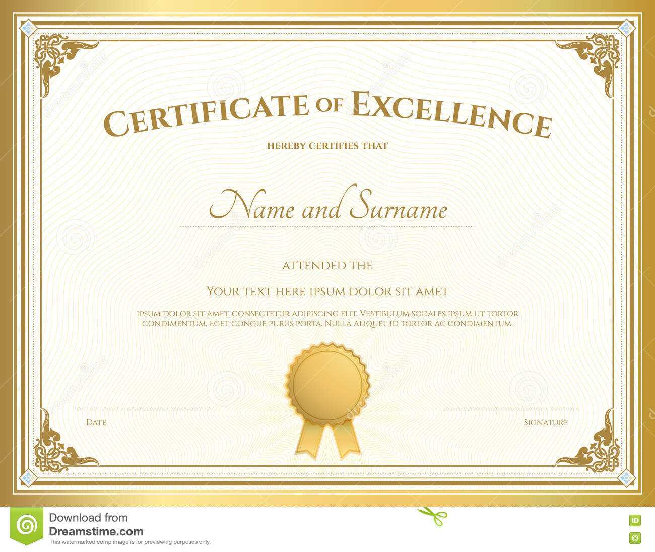 Certificate Of Excellence Template With Gold Border Stock in Free Certificate Of Excellence Template