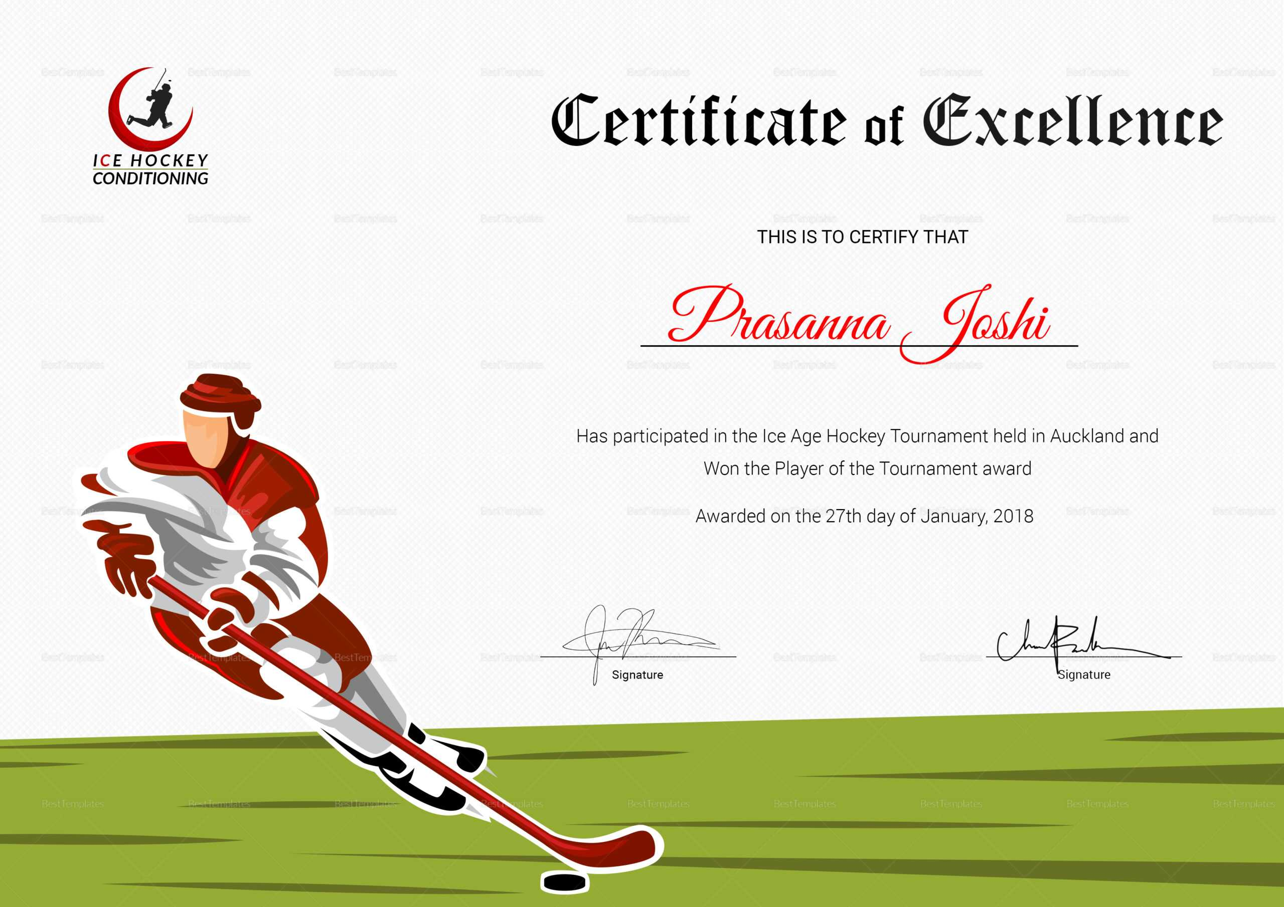 hockey certificate templates template performance psd douglasbaseball award professional word vancecountyfair
