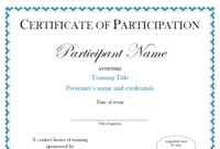 Certificate Of Participation Sample Free Download intended for Certificate Of Participation Template Pdf
