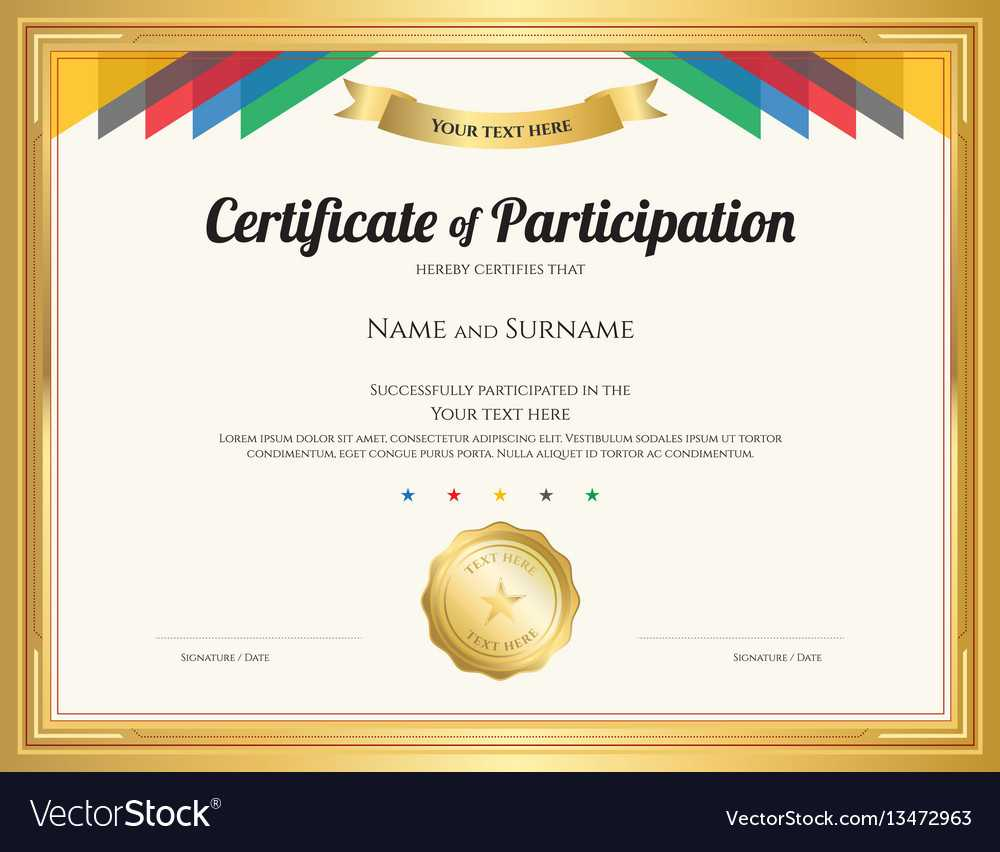 Certificate Of Participation Template With Gold Pertaining To Certification Of Participation Free Template