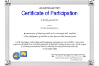 Certificate Of Participation Word Template regarding Certificate Of Participation Template Word