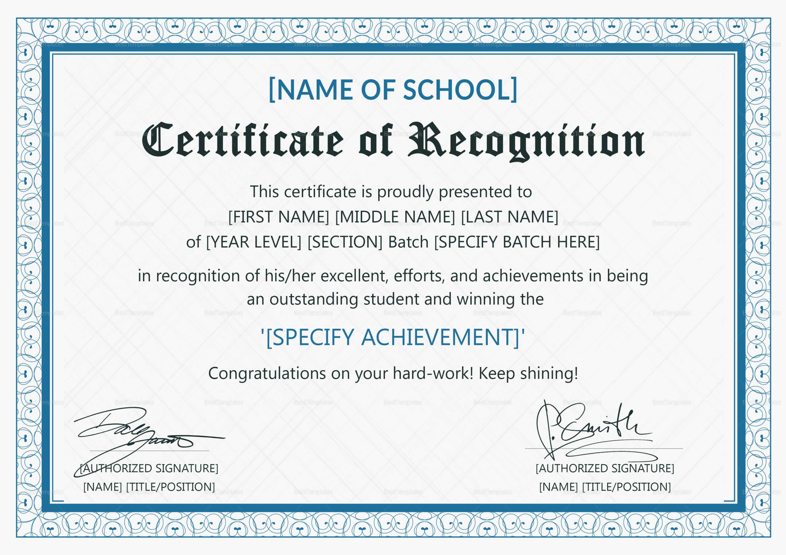 Certificate Of Recognition Template Letter Sample Award inside Sample Certificate Of Recognition Template