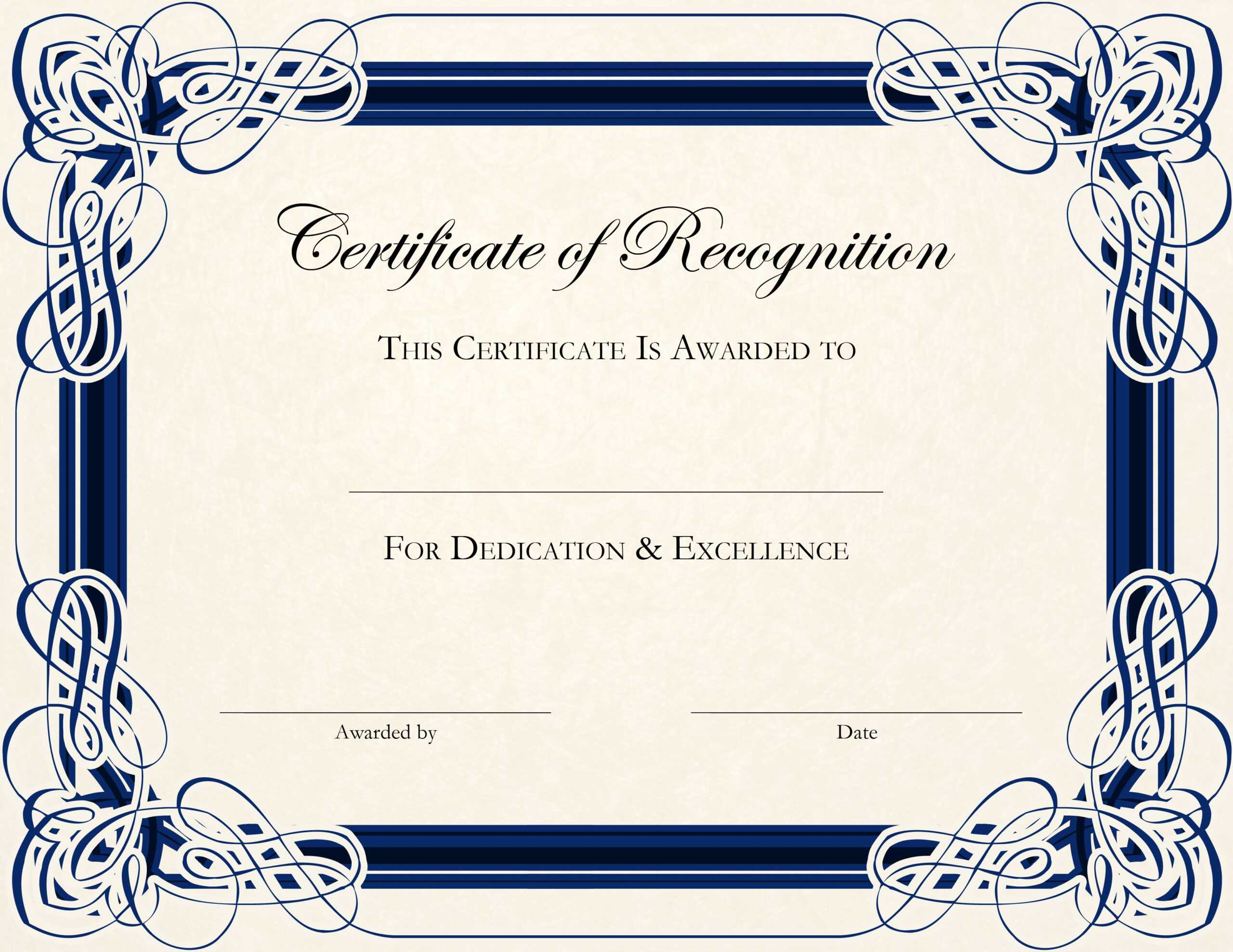 Certificate Template Designs Recognition Docs | Certificate In Template For Certificate Of Award