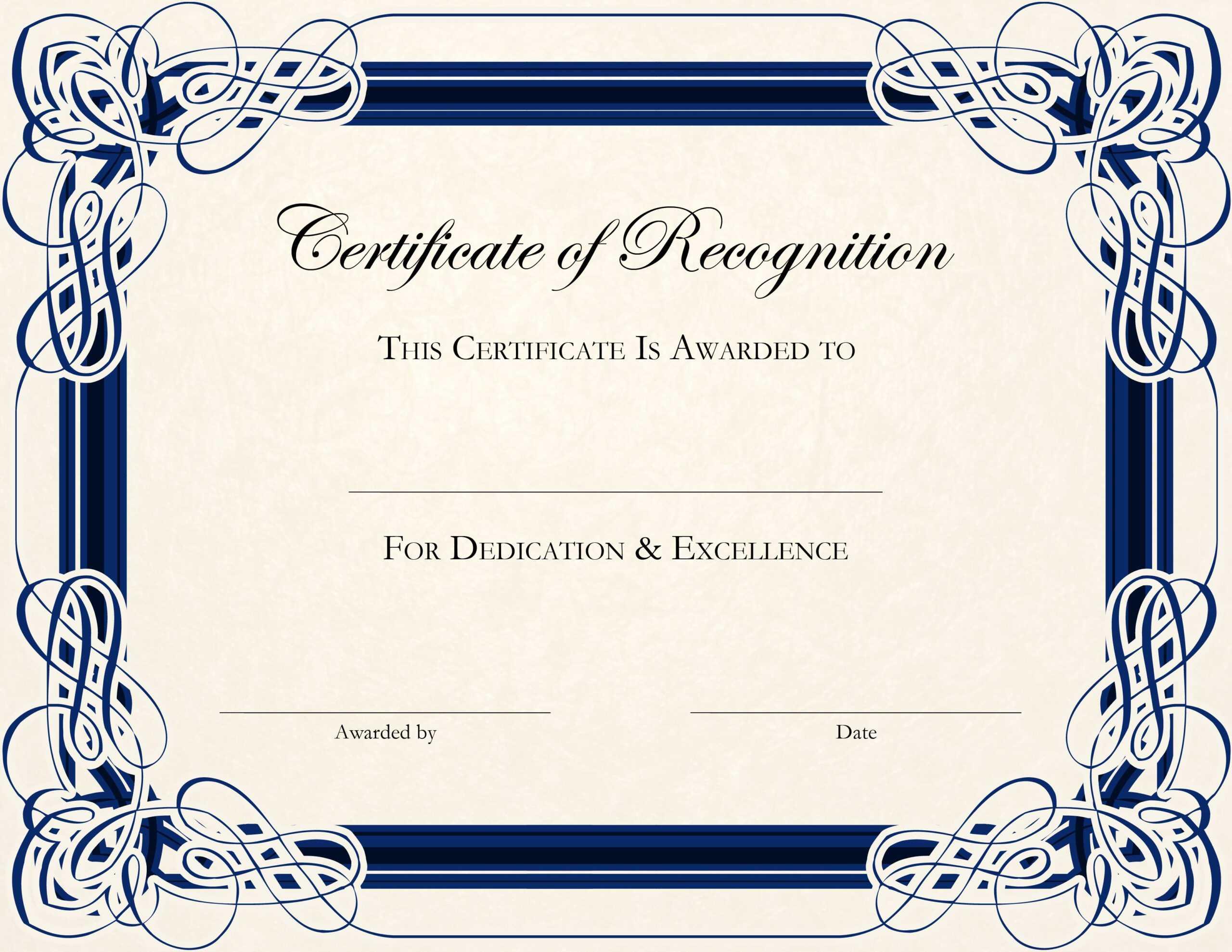 Certificate Template Designs Recognition Docs | Certificate With Art Certificate Template Free
