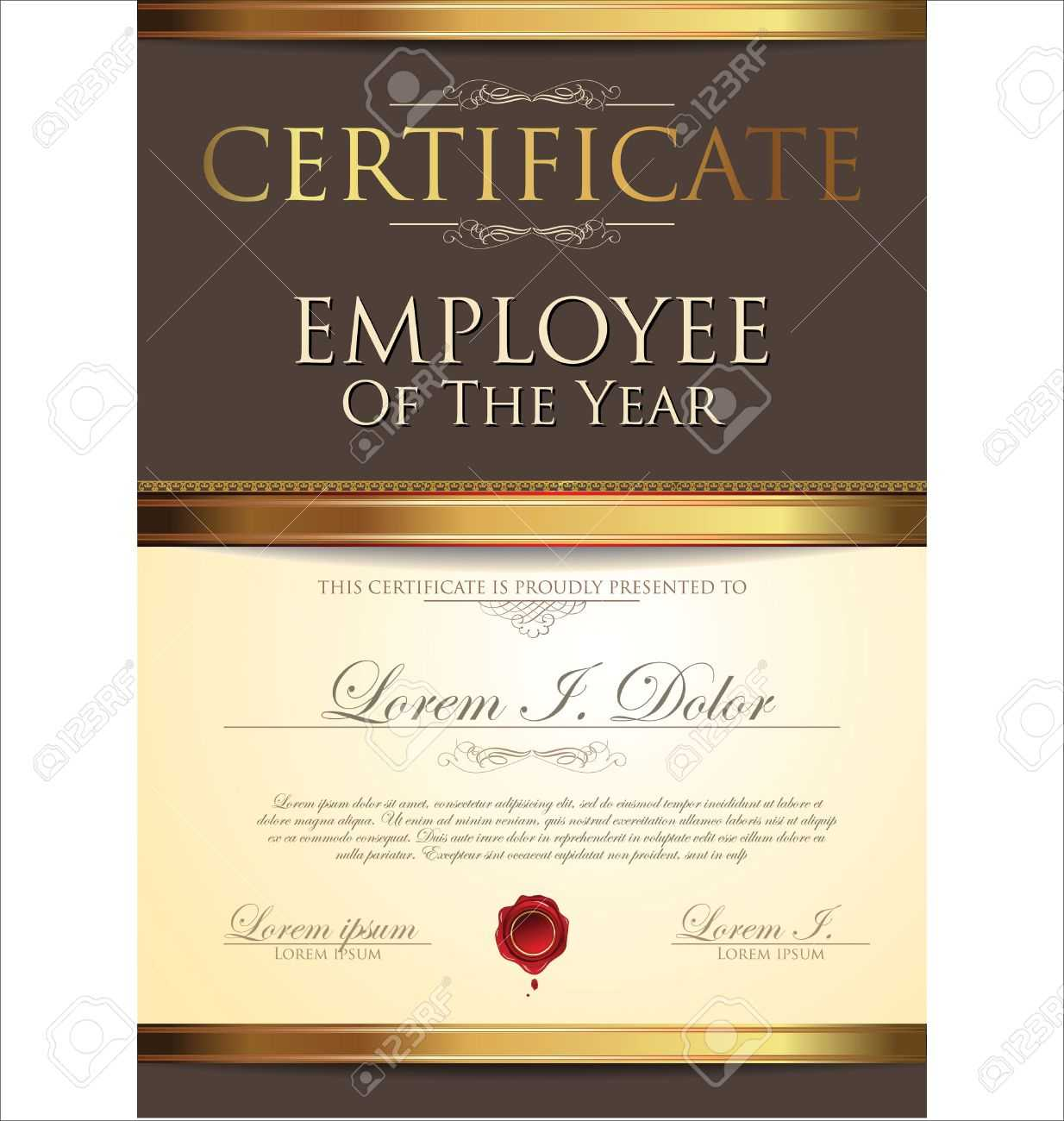 Certificate Template, Employee Of The Year Regarding Employee Of The Year Certificate Template Free
