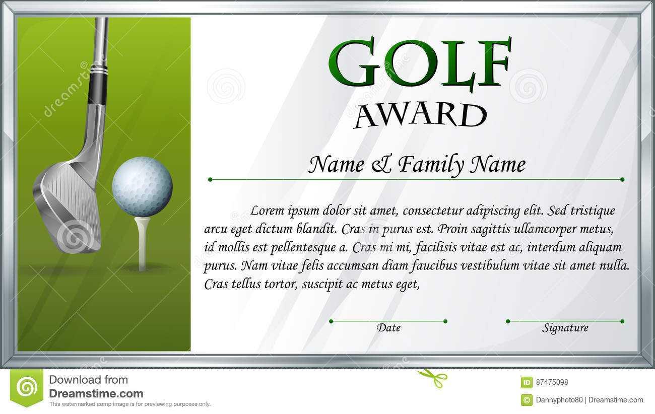 Certificate Template For Golf Award Stock Vector In Golf Certificate Template Free