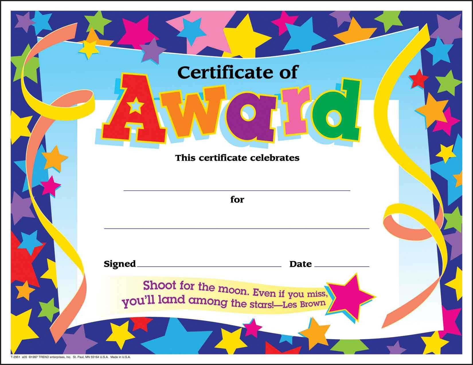 Certificate Template For Kids Free Certificate Templates Throughout Free Kids Certificate Templates