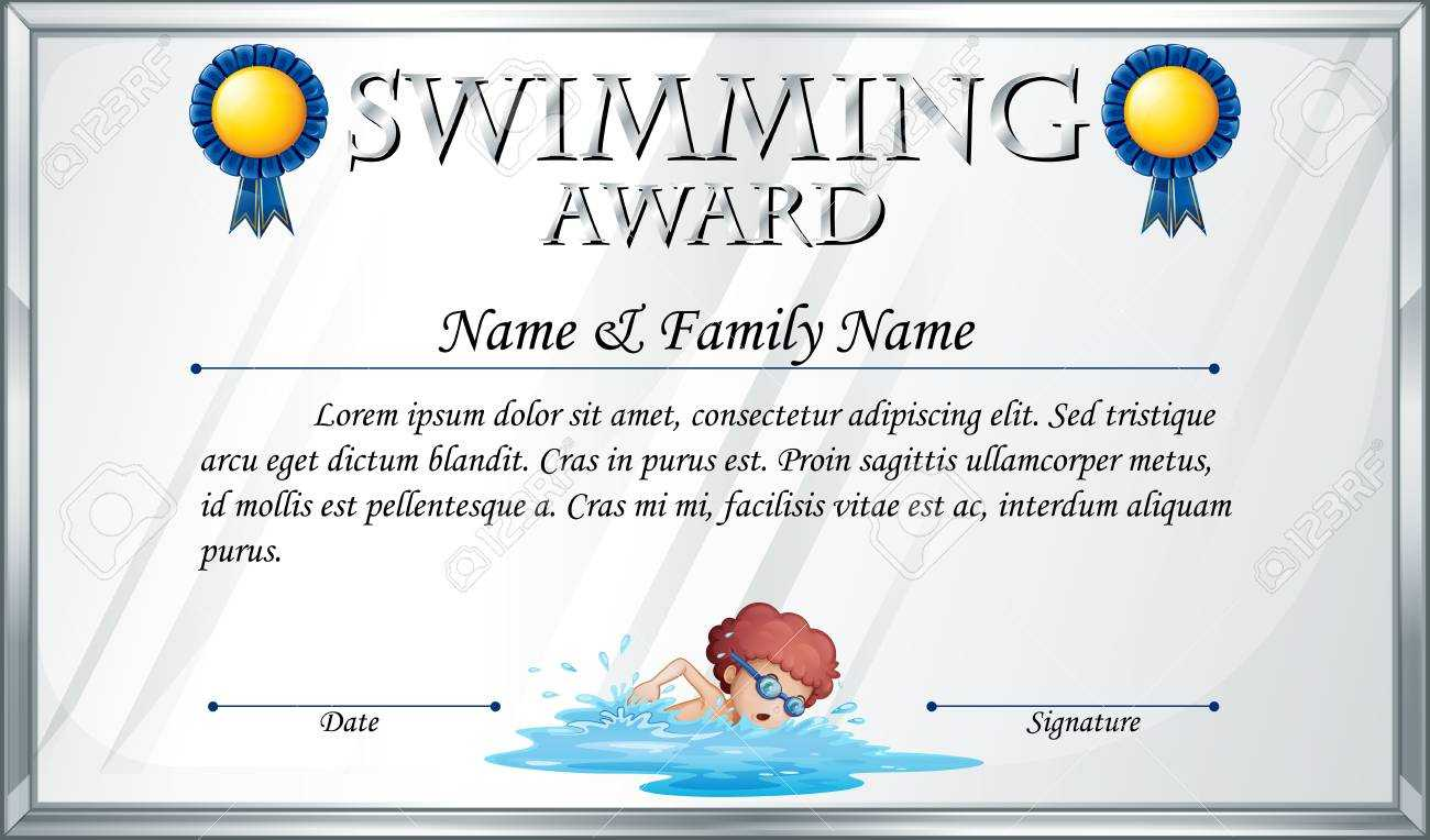 Certificate Template For Swimming Award Illustration With Swimming Award Certificate Template