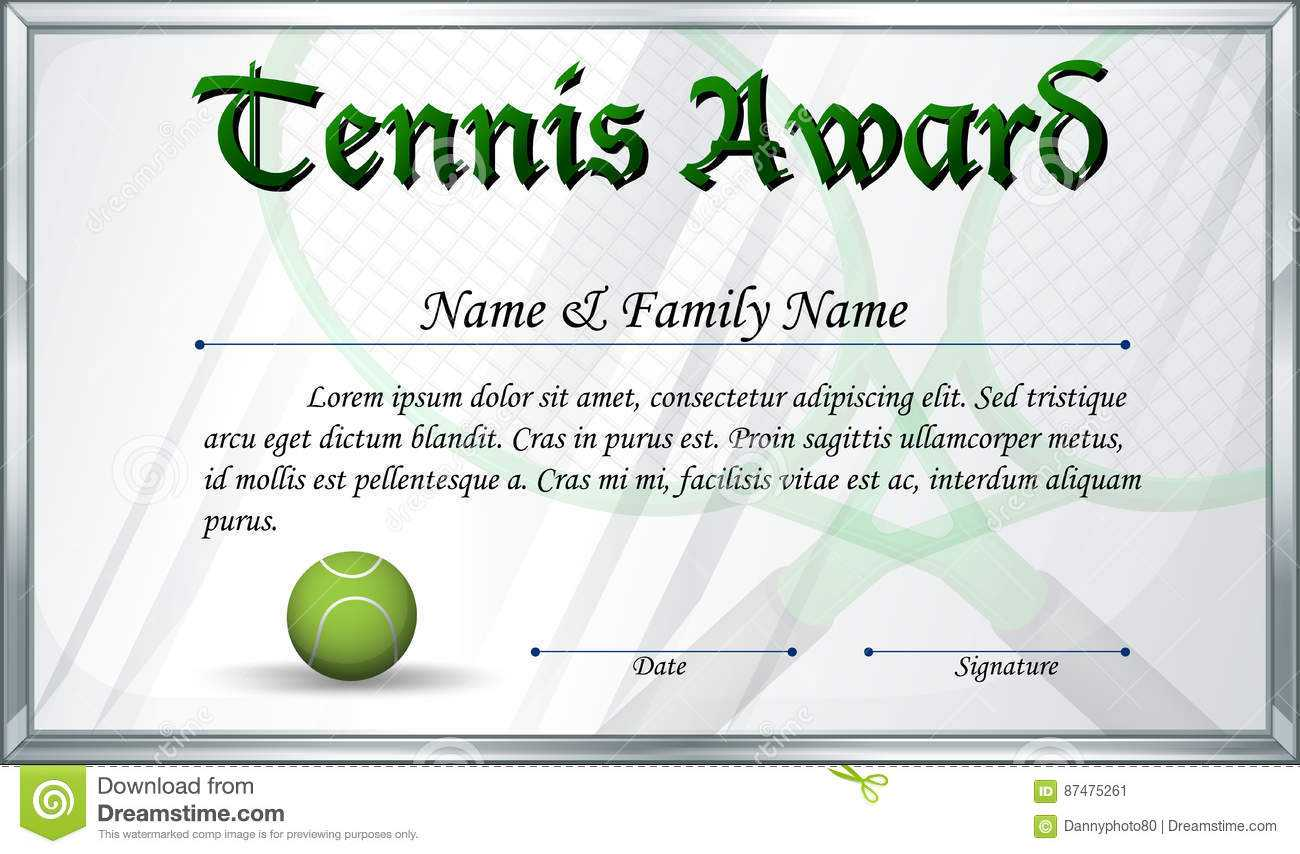 Certificate Template For Tennis Award Stock Vector Inside Tennis Certificate Template Free