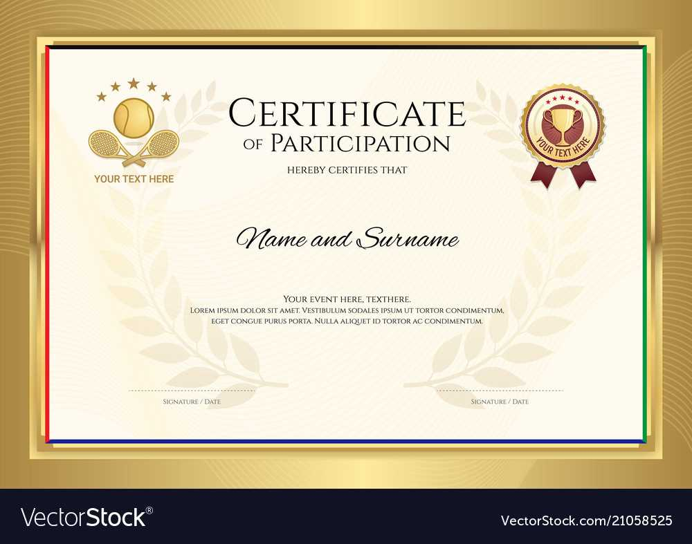 Certificate Template In Tennis Sport Theme With For Tennis Gift Certificate Template
