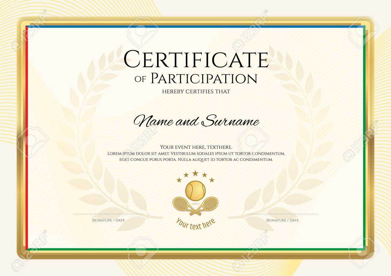 Certificate Template In Tennis Sport Theme With Gold Border Frame,.. Throughout Tennis Certificate Template Free