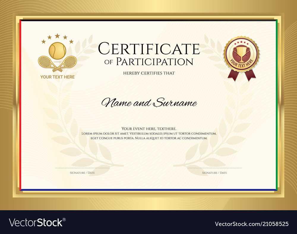 Certificate Template In Tennis Sport Theme With With Regard To Tennis Certificate Template Free