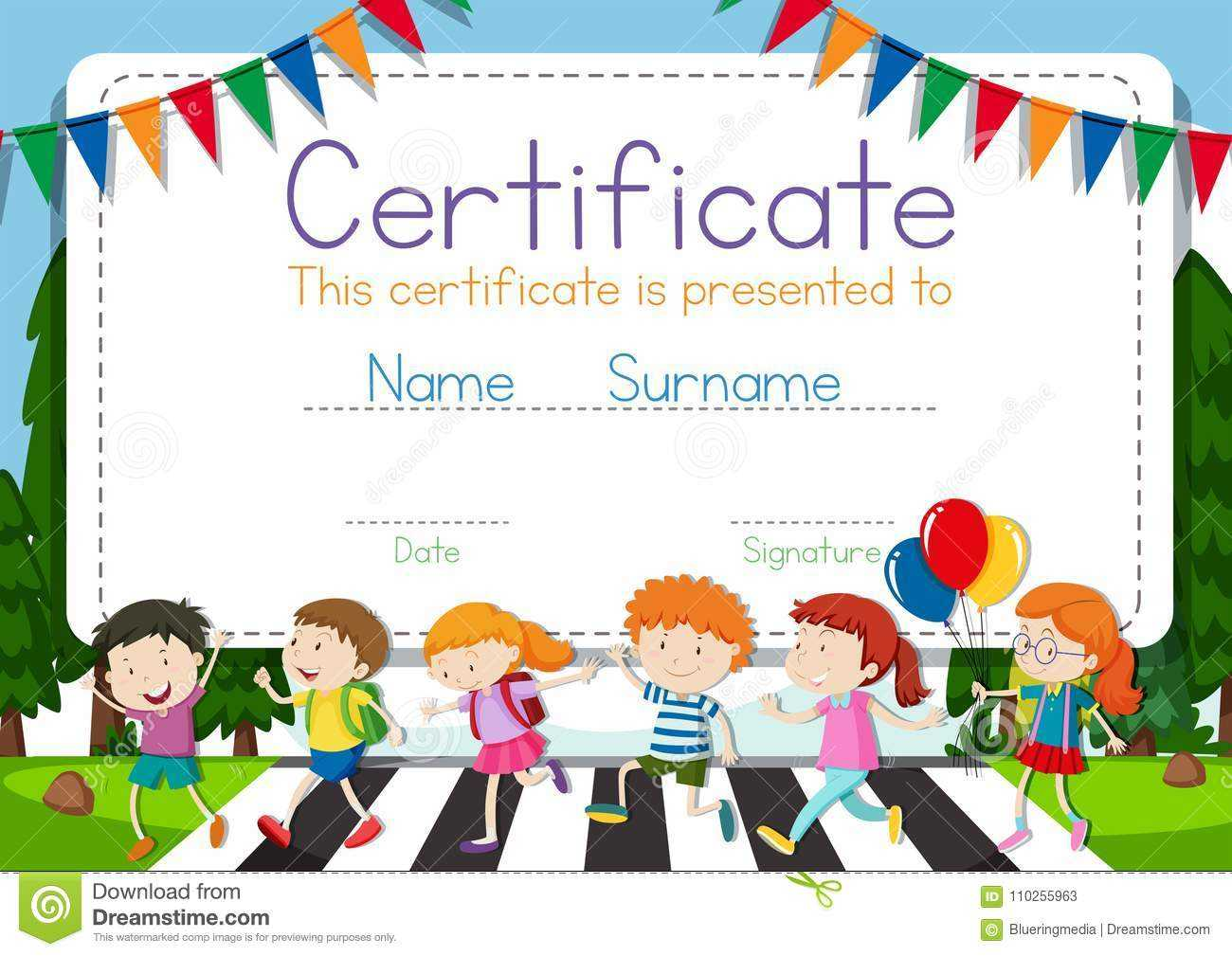 Certificate Template With Children Crossing Road Background with regard to Crossing The Line Certificate Template