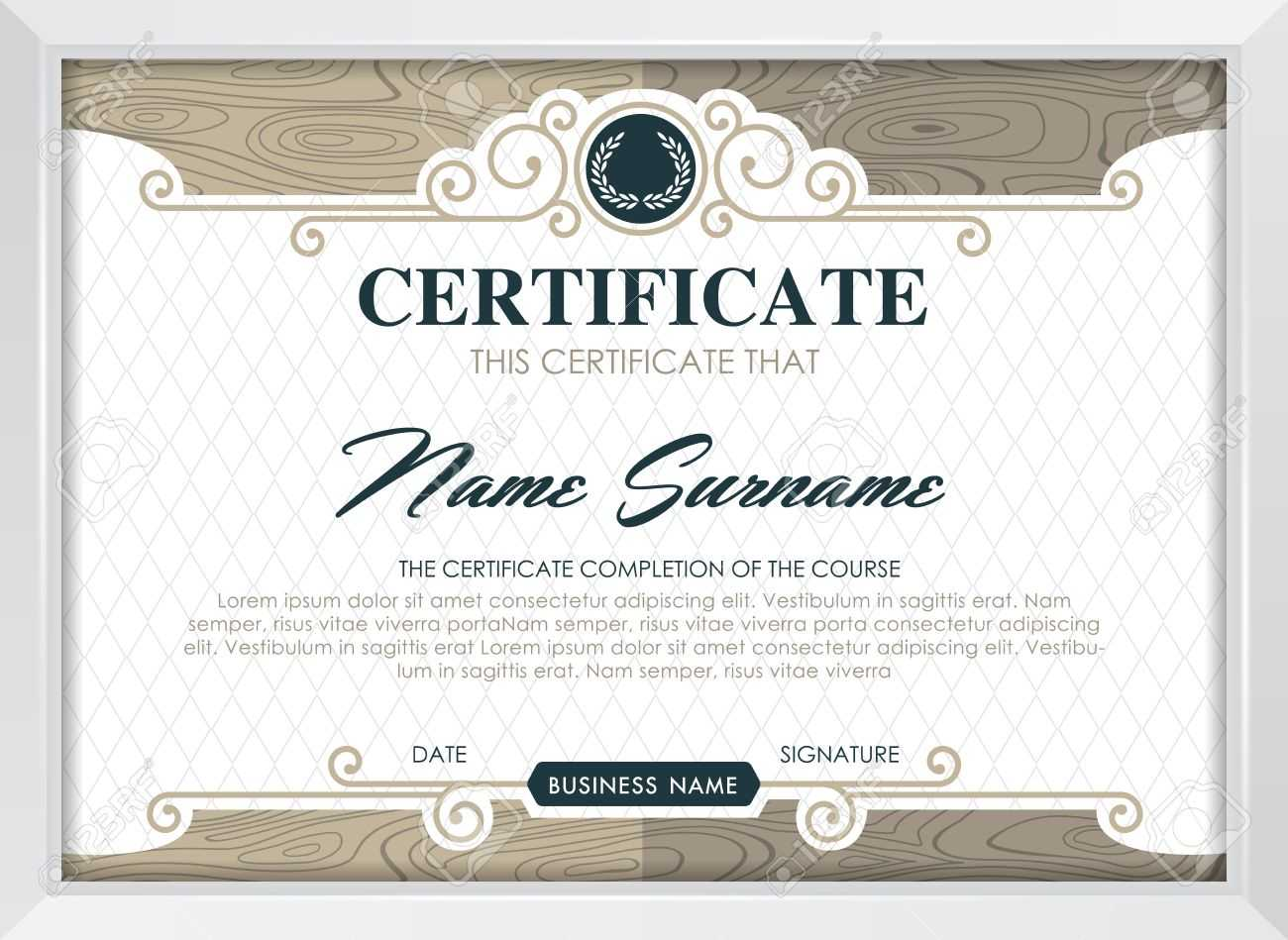 Certificate Template With Clean And Modern Pattern, Luxury  Golden,qualification.. Intended For Qualification Certificate Template