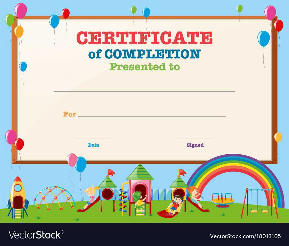 Certificate Template With Kids In Playground throughout Free Printable Certificate Templates For Kids
