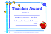 Certificate Templates For Best Teacher | Free Downloadable with Best Teacher Certificate Templates Free