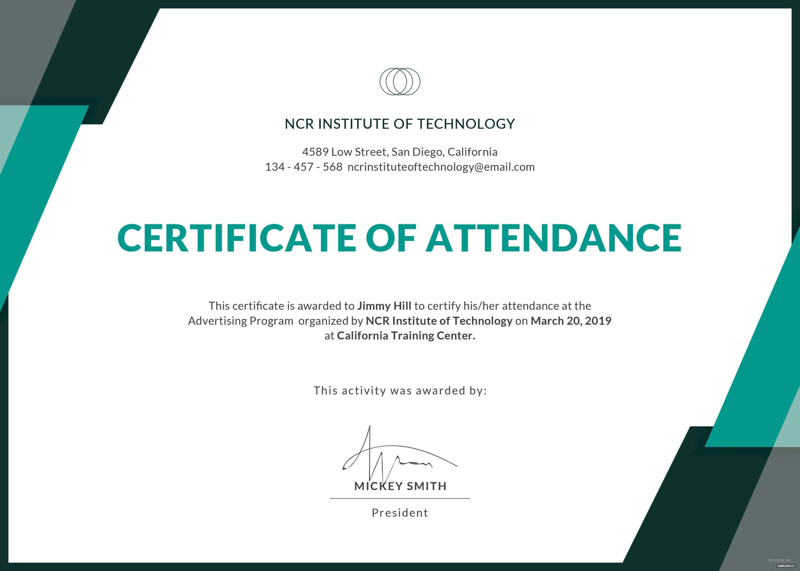 Certificate Templates: Free Conference Attendance throughout Conference Certificate Of Attendance Template