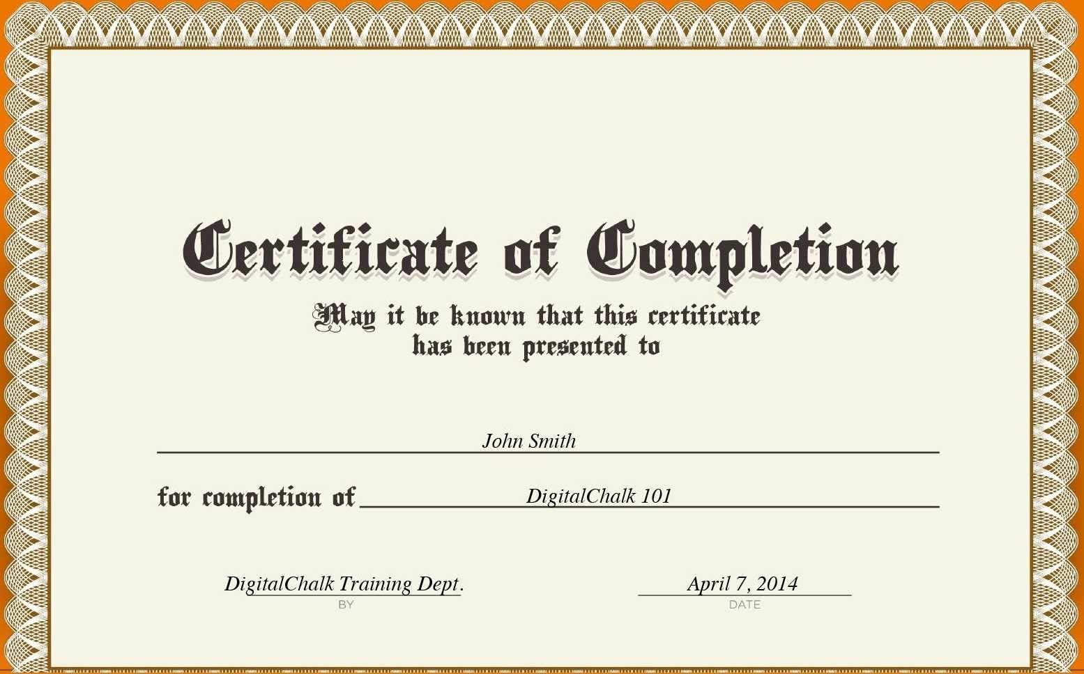 Certificates. Best Completion Certificate Template Designs intended for Certification Of Completion Template