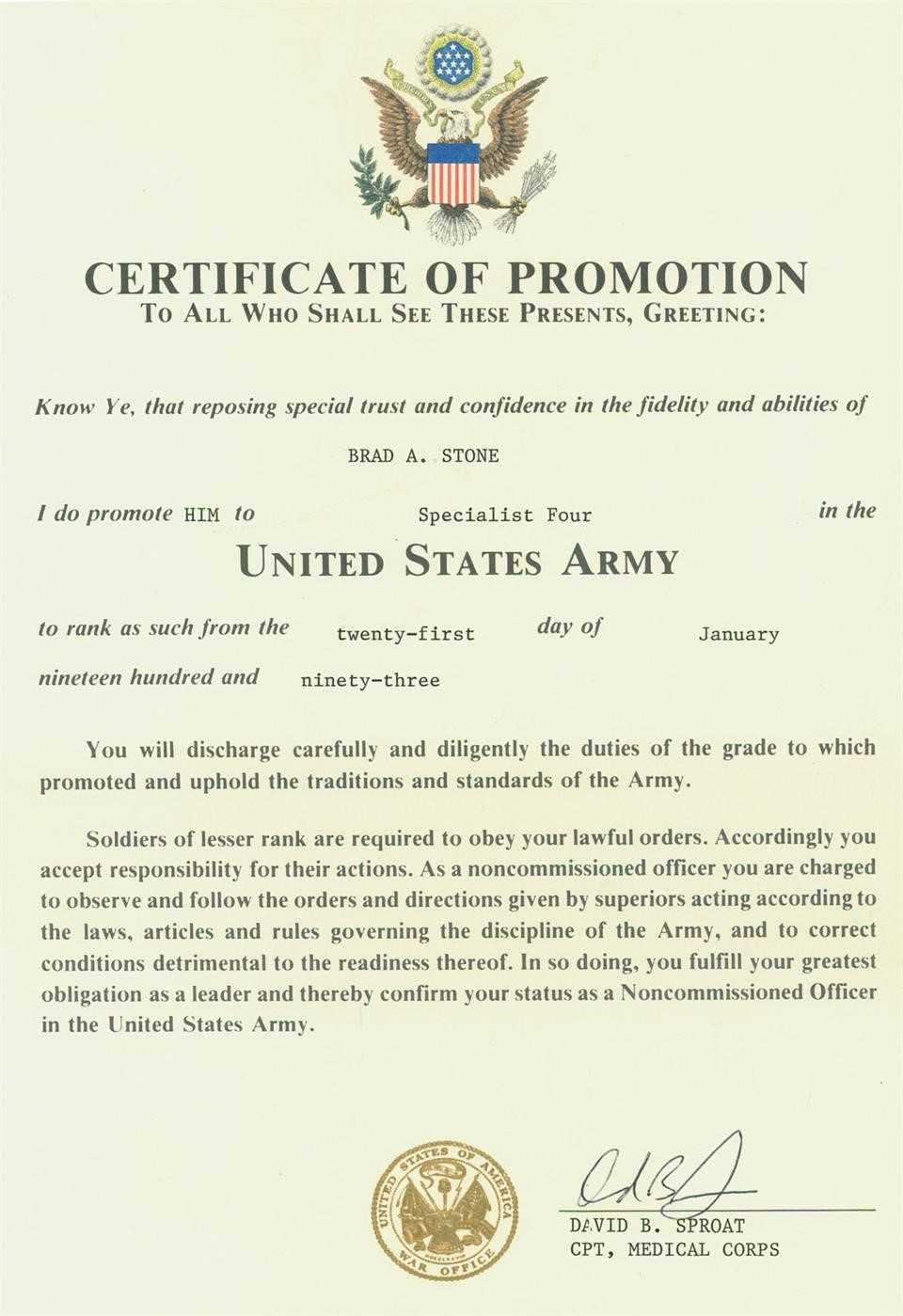 Certificates. Cool Promotion Certificate Template Example For Officer Promotion Certificate Template