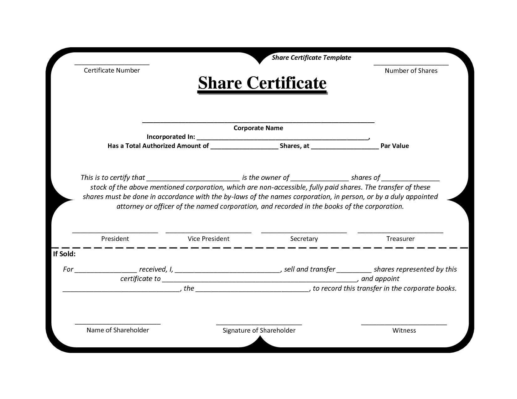 Certificates. Fascinating Template For Share Certificate with regard to Blank Share Certificate Template Free