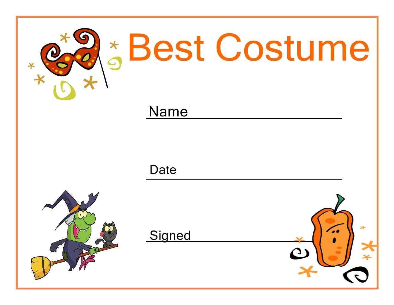 Certificates. Simple Halloween Costume Certificate Template in Halloween Certificate Template