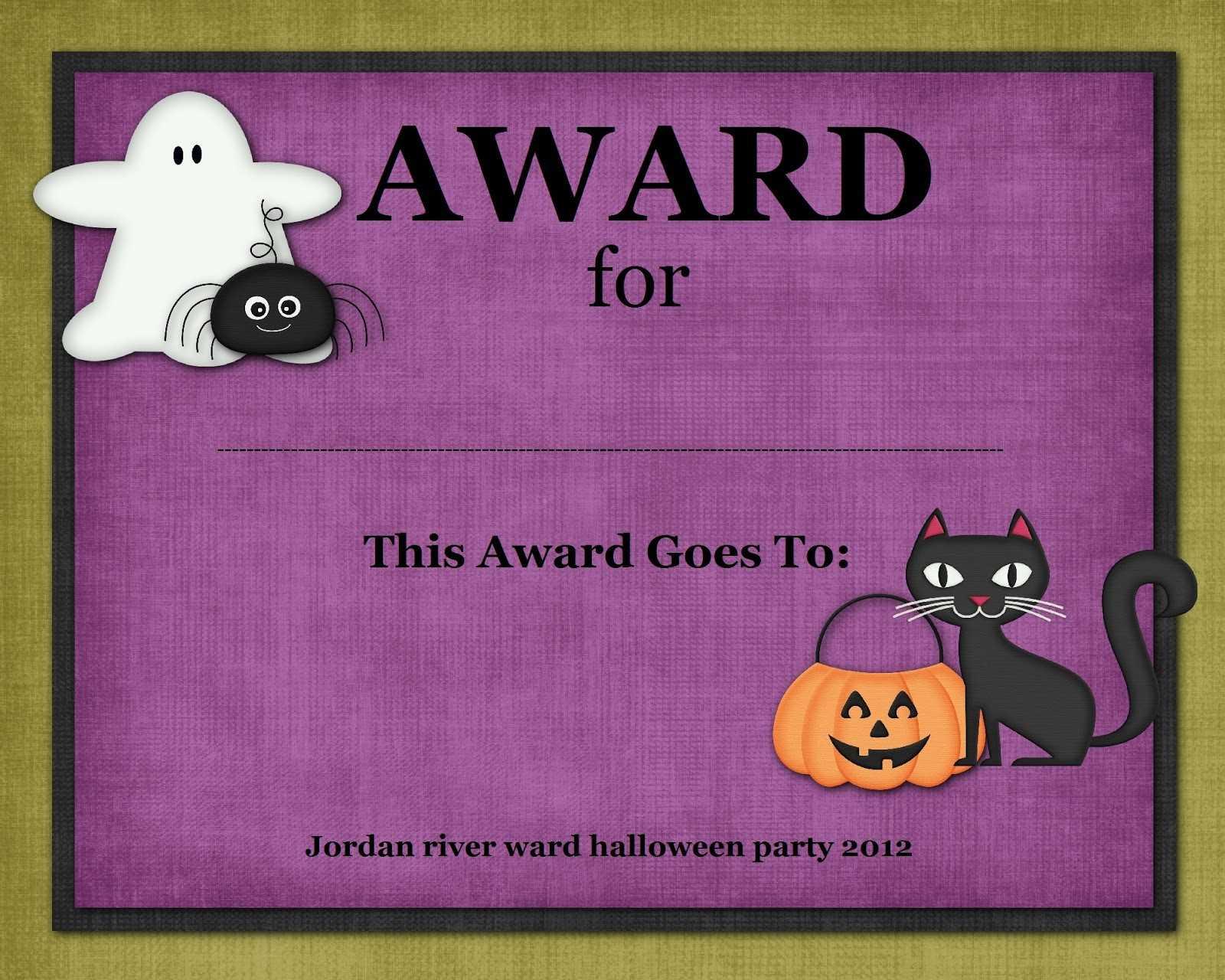 Certificates: Simple Halloween Costume Certificate Template with regard to Halloween Certificate Template