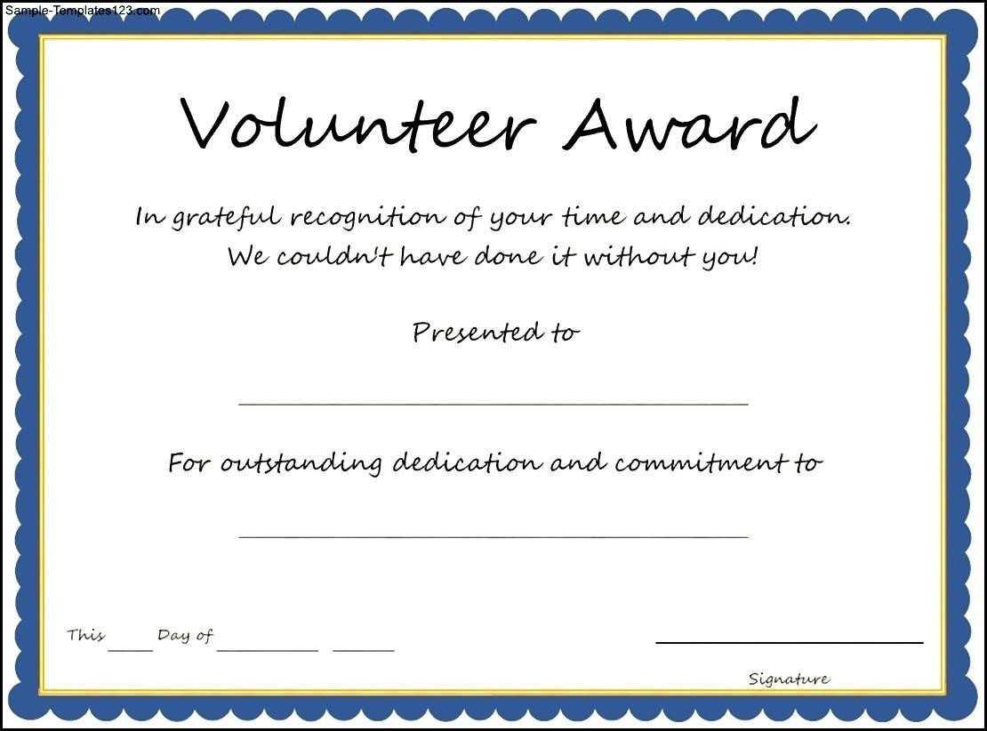 Certificates: Stylish Volunteer Certificate Template Sample for Volunteer Certificate Template