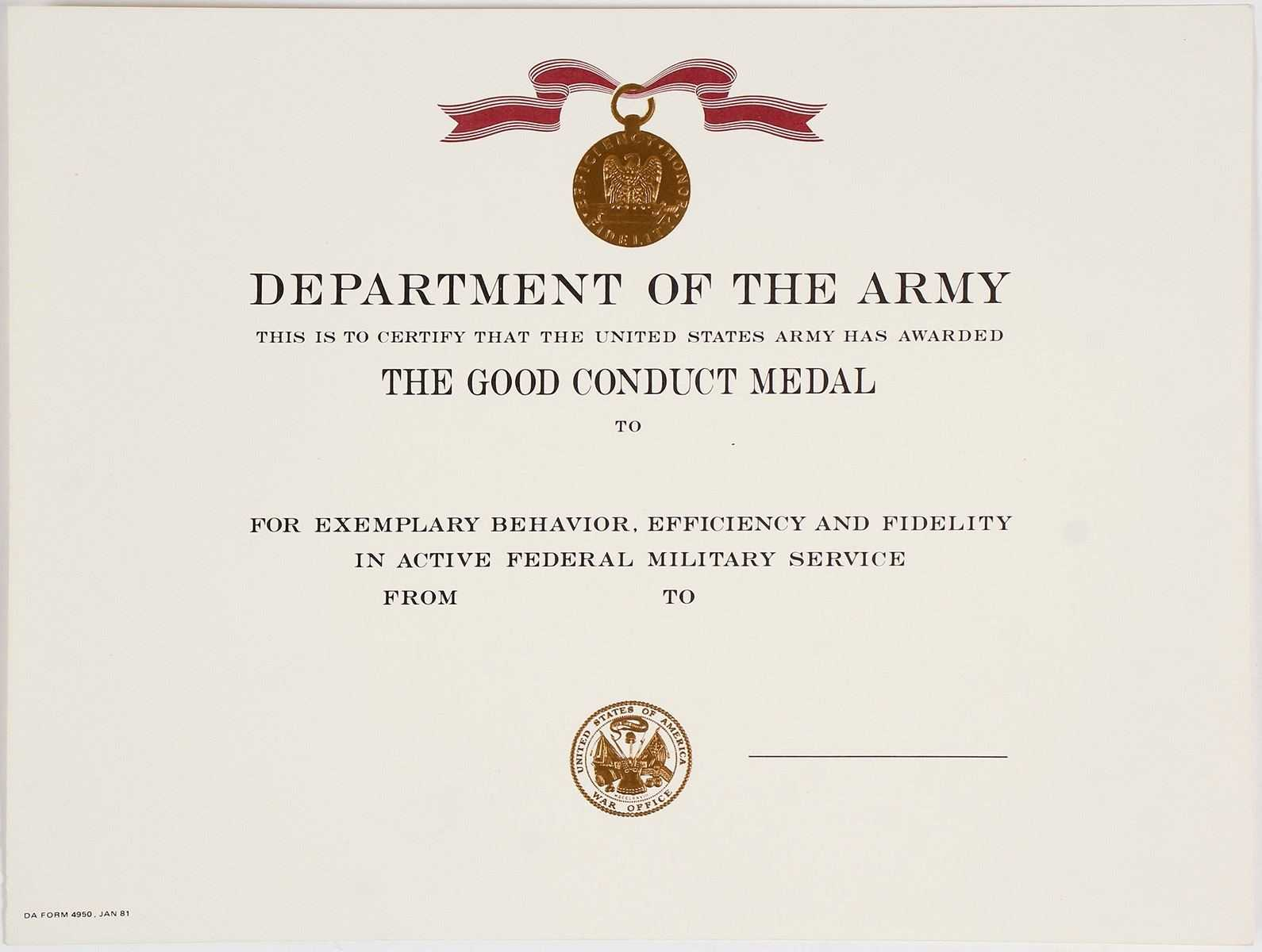 Certificates: Wonderful Good Conduct Certificate Template With Regard To Army Good Conduct Medal Certificate Template