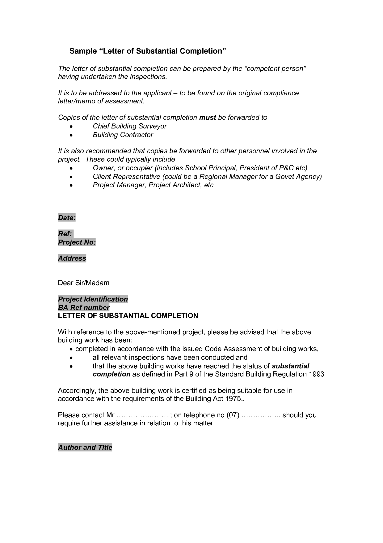 Certification Certificate Completion Construction Letter in Certificate Of Completion Construction Templates