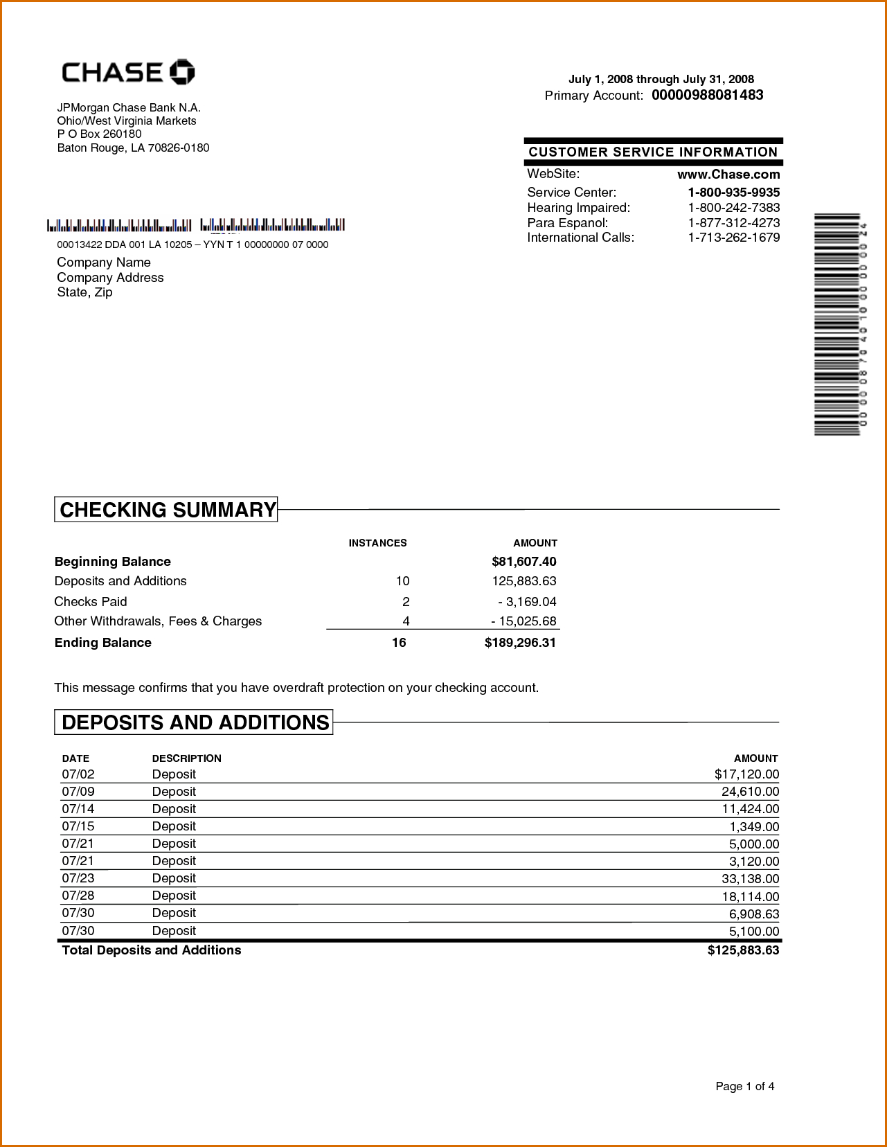 Chase Bank Statement Online Template   Best Template Within Blank Bank Statement Template Download