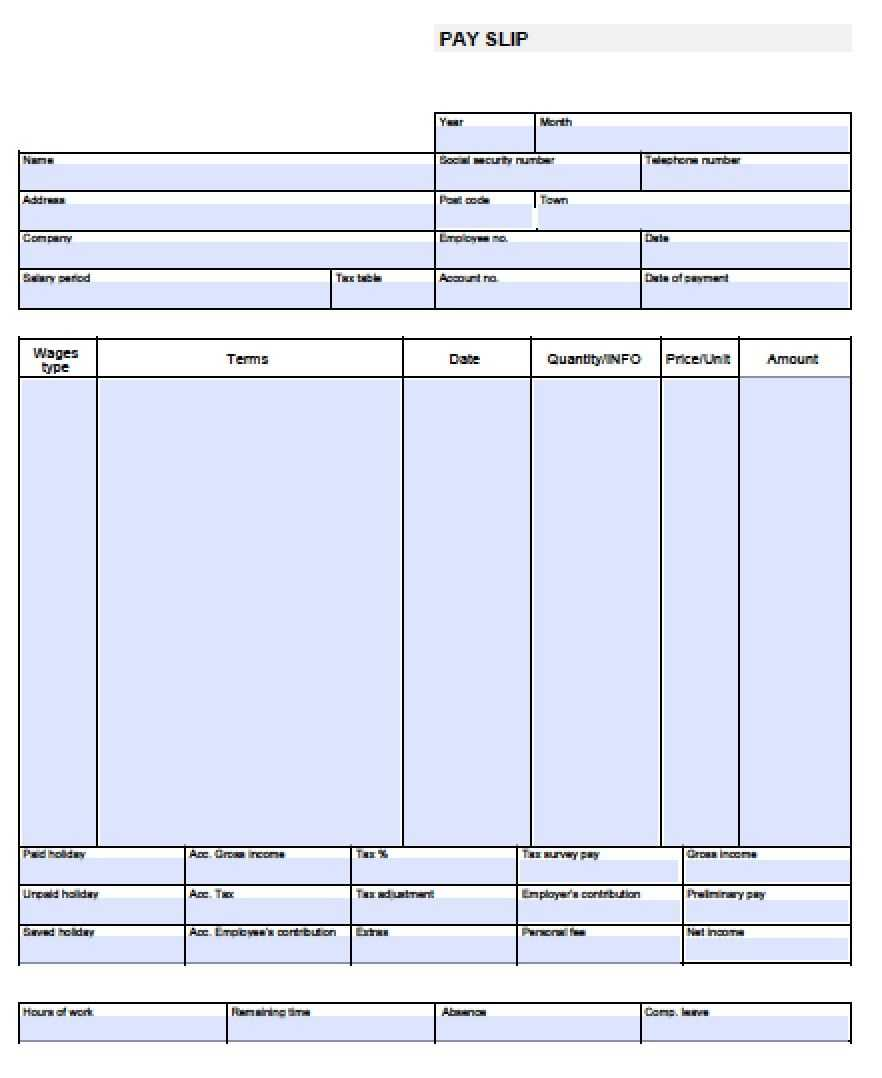 Check Stub Template Free | Pay Stub Template Free Blank-Usa in Blank Pay Stubs Template