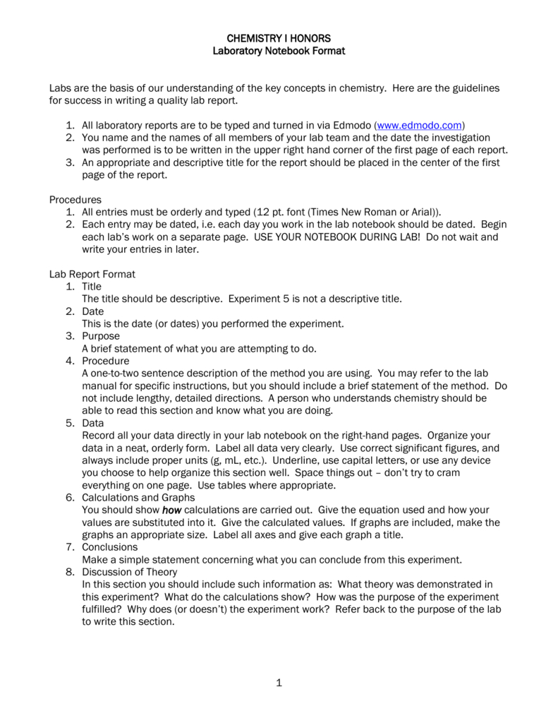Chemistry I Honors Lab Report Format With Chemistry Lab Report Template
