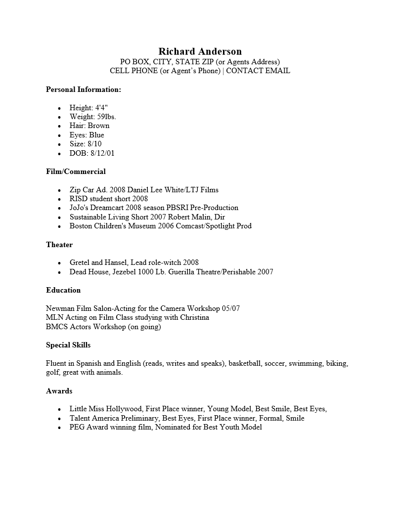 Child Acting Resume : Resume Templates with regard to Theatrical Resume Template Word