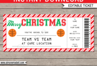 Christmas Basketball Gift Ticket – Red Stripes & White With regarding Basketball Camp Certificate Template