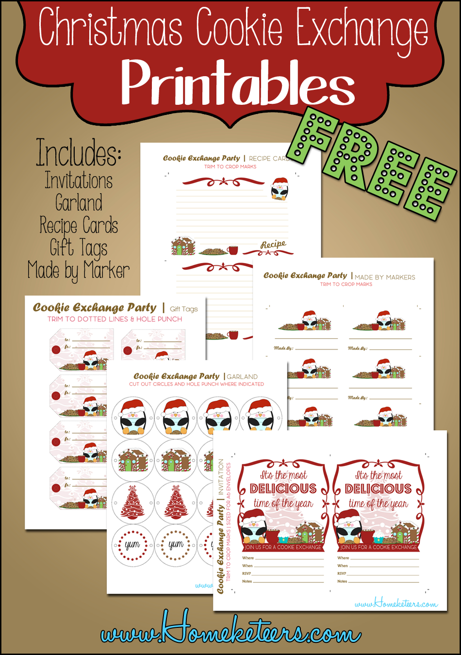 Christmas Cookie Exchange Printables Penguin Theme ~ Free with regard to Cookie Exchange Recipe Card Template