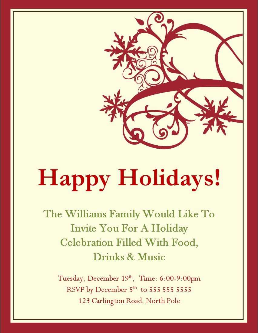 Christmas Party Invitations Templates Microsoft   Christmas Throughout Free Dinner Invitation Templates For Word