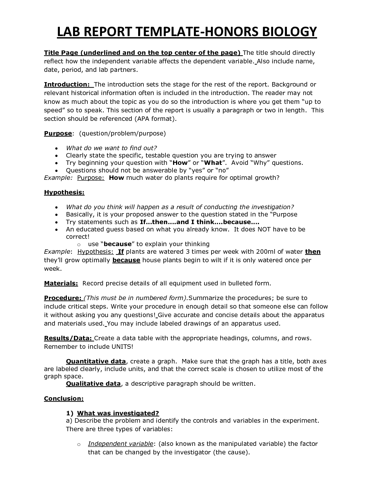 Chs Hbio Lab Report Template | Lab Report, Lab Report with regard to Biology Lab Report Template