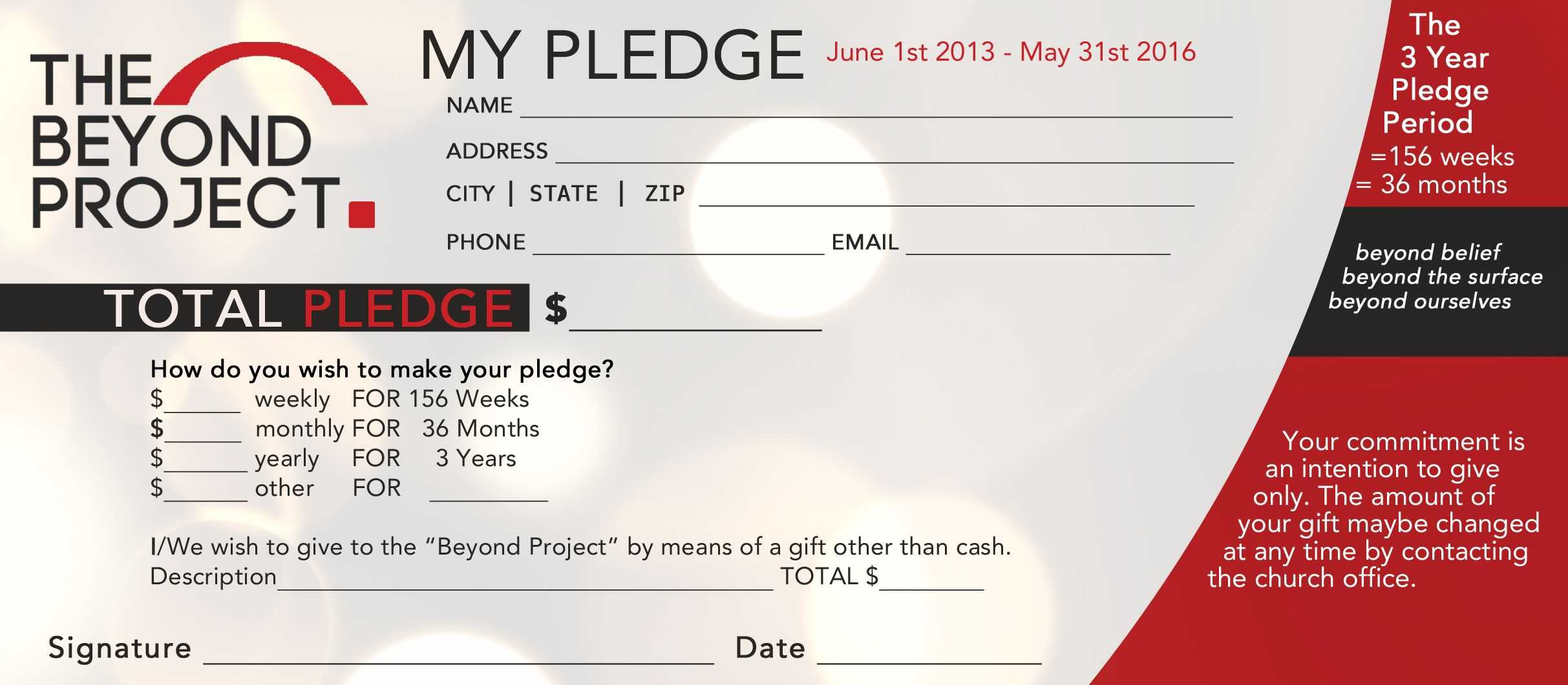 Church Pledge Form Template Hausn3Uc | Church Fundraisers With Pledge Card Template For Church
