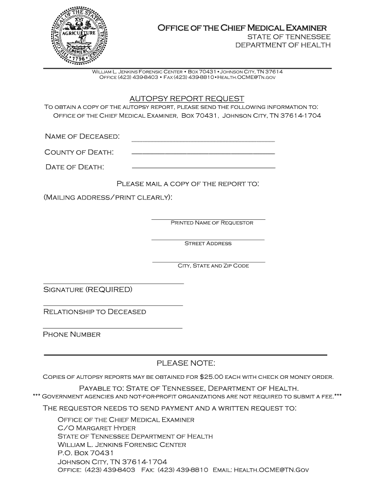 City Of Memphis Tennessee Autopsy Report - Fill Online pertaining to Autopsy Report Template