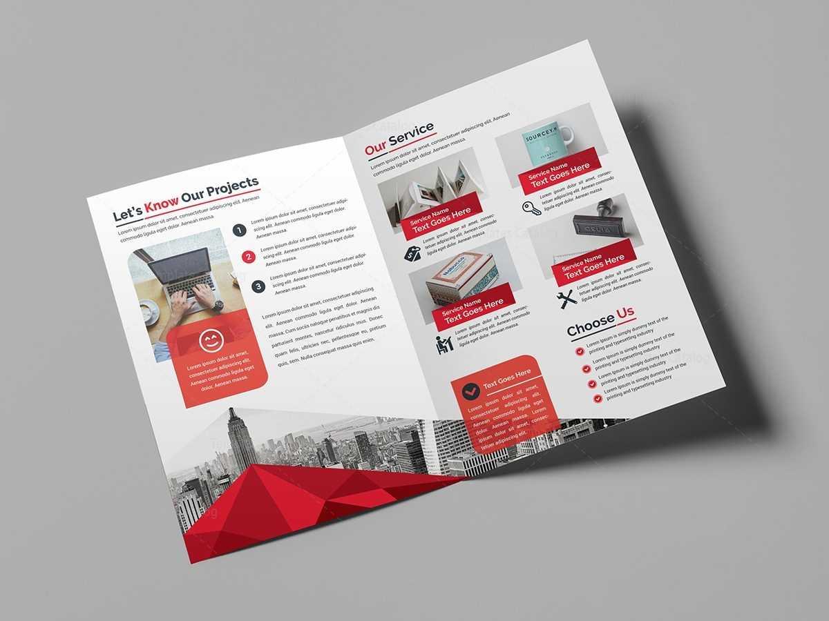 Classy Bi-Fold Brochure Template 000713 - Template Catalog throughout Two Fold Brochure Template Psd