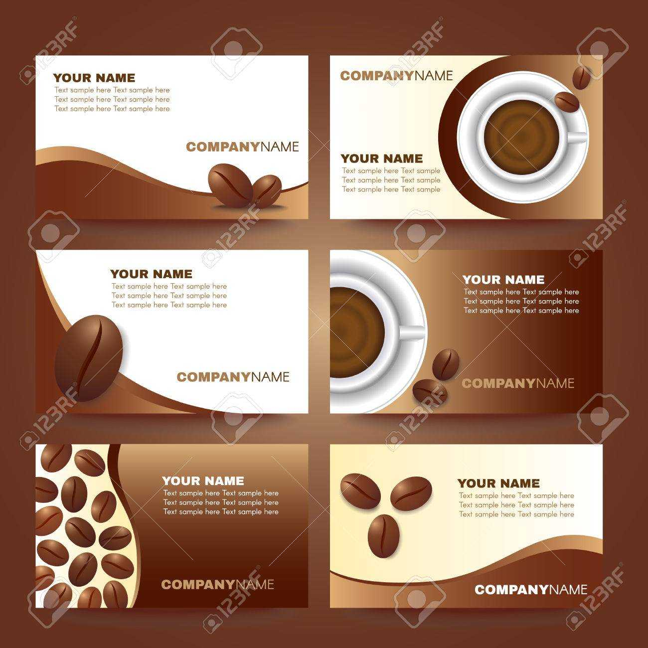 Coffee Business Card Template Vector Set Design Throughout Coffee Business Card Template Free