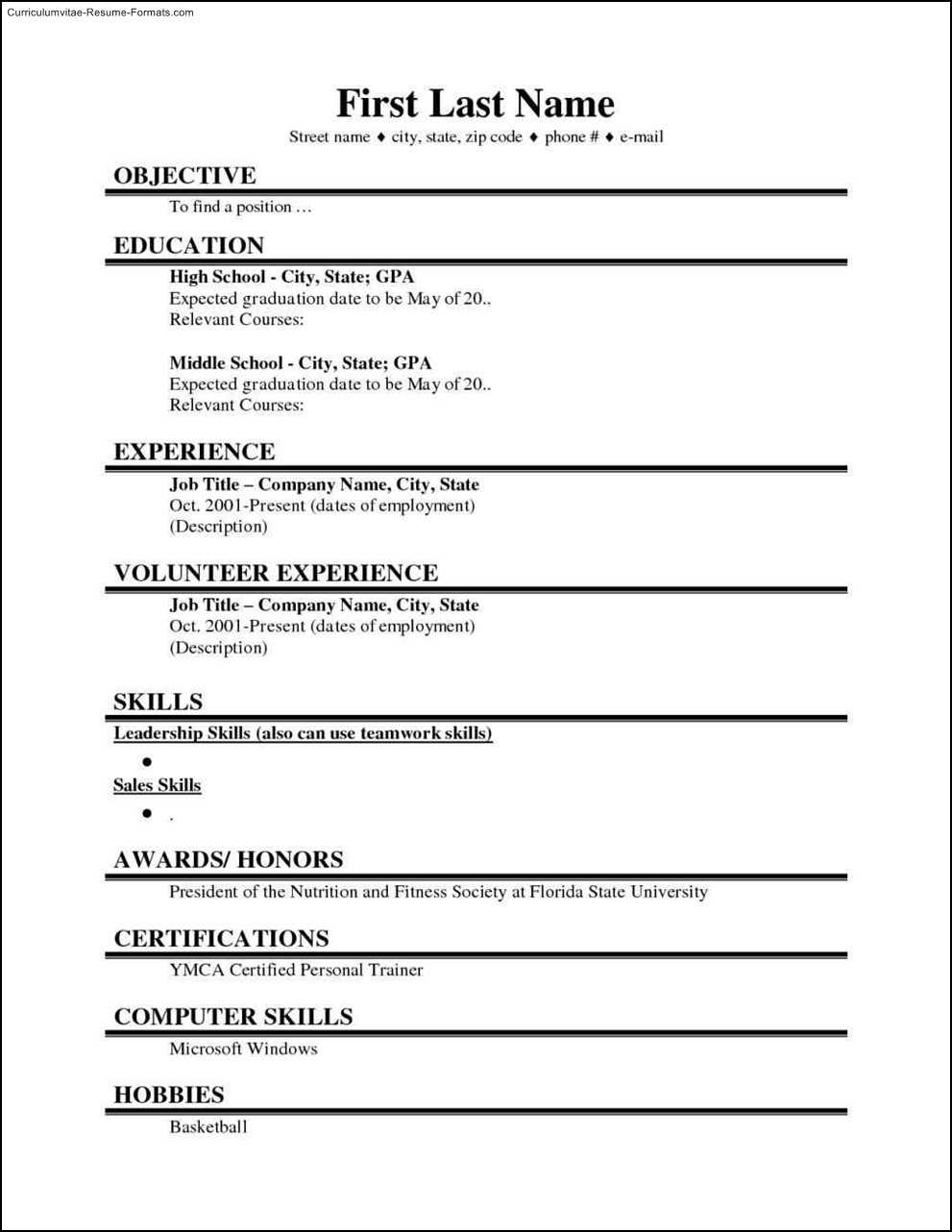 College Student Resume Template Microsoft Word Within College Student Resume Template Microsoft Word