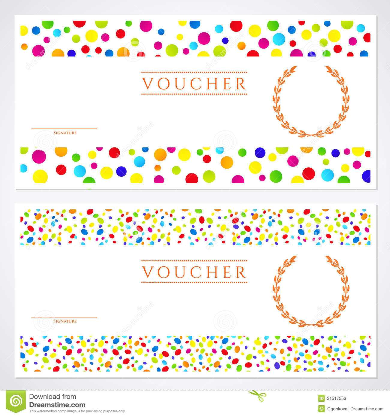 Colorful Gift Certificate (Voucher) Template Stock Vector Throughout Kids Gift Certificate Template