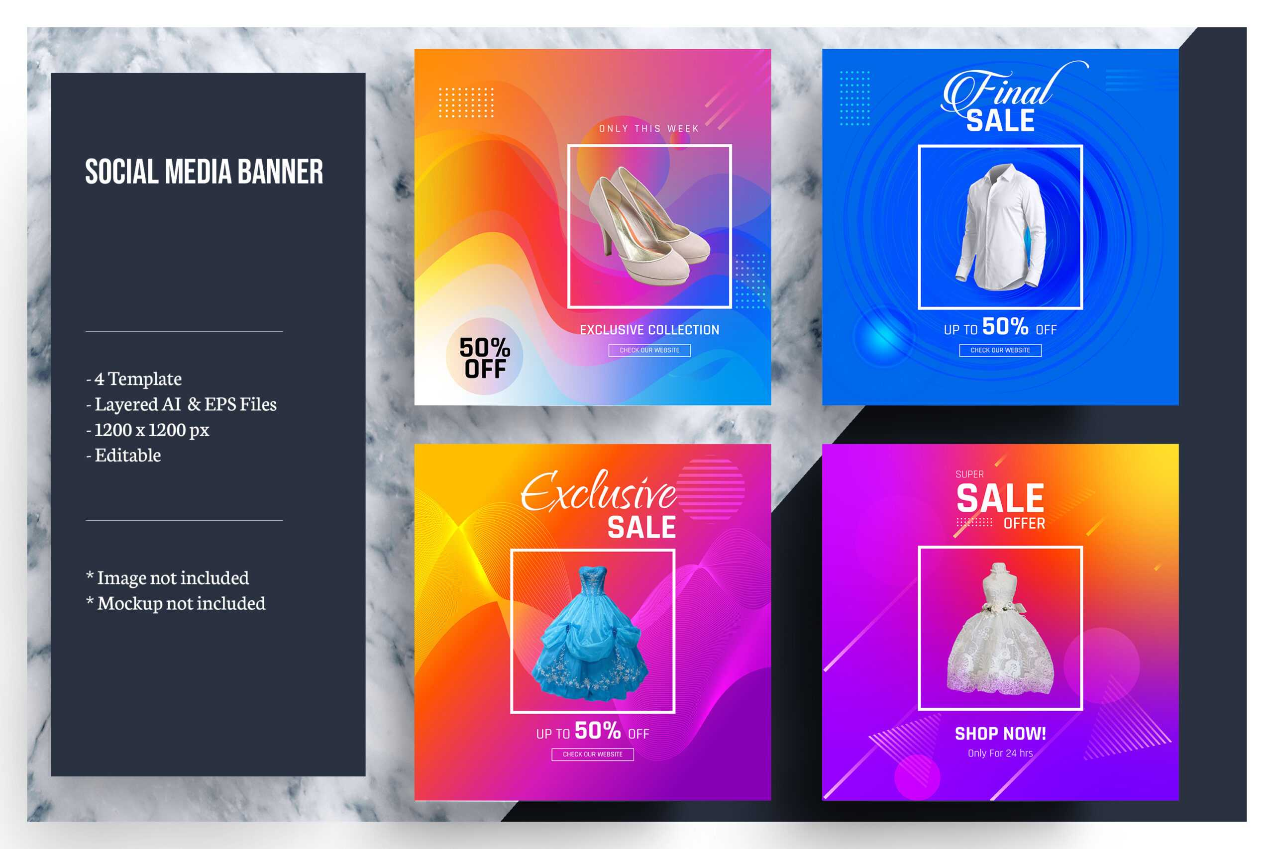 Colorful Social Media Banner Template With Product Banner Template