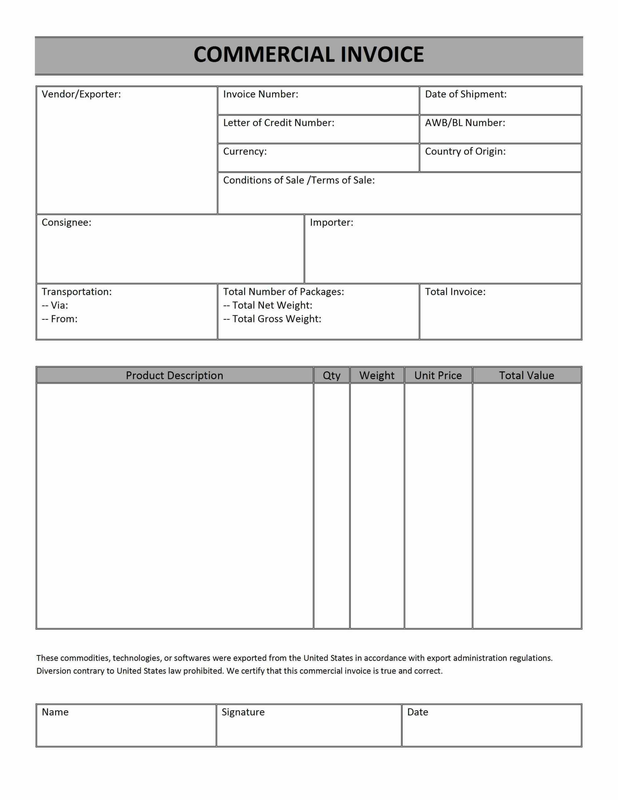 Commercial Invoice Word Templates Free Word Templates Ms Within Commercial Invoice Template Word Doc