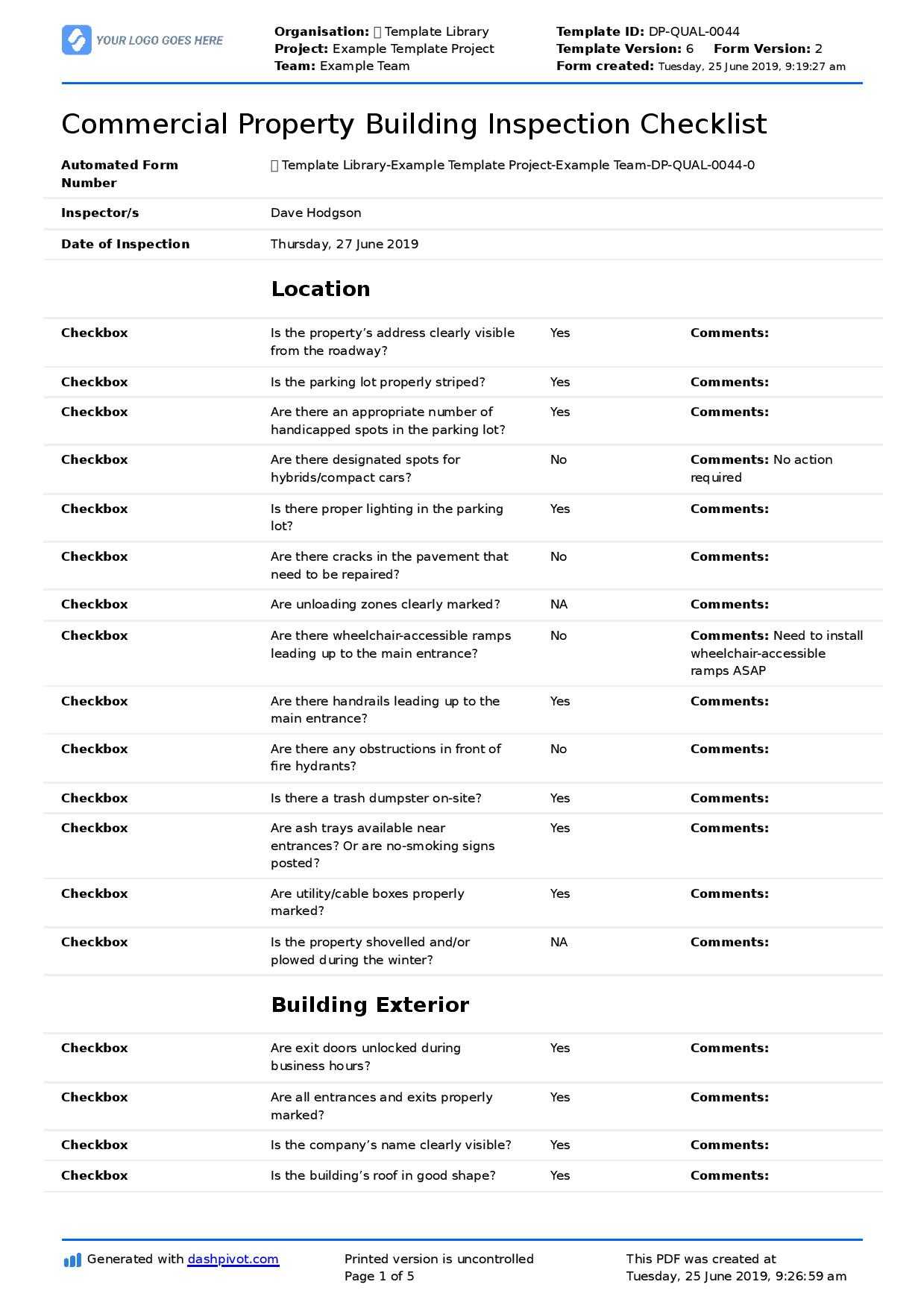 Commercial Property Inspection Checklist Template (Use It Pertaining To Commercial Property Inspection Report Template