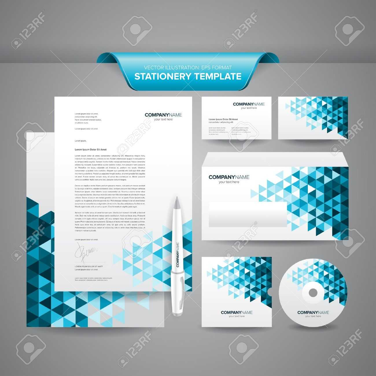 Complete Set Of Business Stationery Template Such As Letterhead,.. Inside Business Card Letterhead Envelope Template